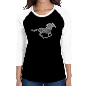 Women's Raglan Baseball Word Art Tee  HORSE BREEDS